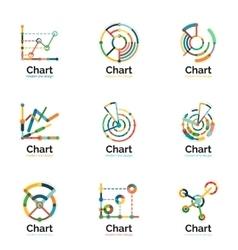Thin line chart logo set graph icons modern vector