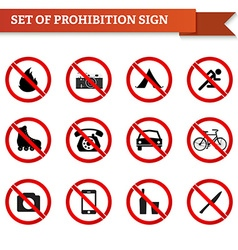 Set of prohibition signs in red circle vector