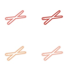 assembly sticker bright chopsticks for sushi on vector image vector image