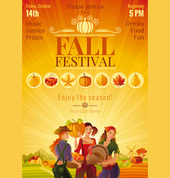 Autumn harvest festival invitation design fall vector