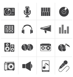 Black music and audio equipment icons vector