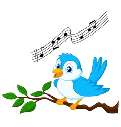 Blue bird singing vector