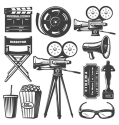 Cinema Monochrome Elements Set vector image