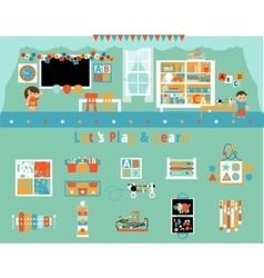 Elementary school classroom and objects set vector