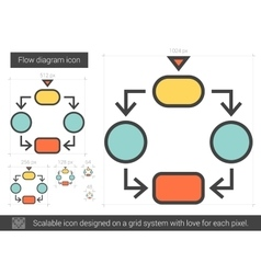 Flow diagram line icon vector