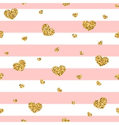Golden hearts pink stripes seamless pattern 1 vector