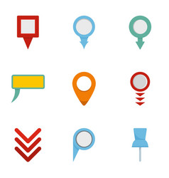 gps pointer icons set flat style vector image