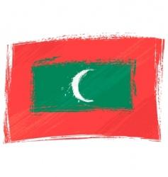 grunge Maldives flag vector image vector image