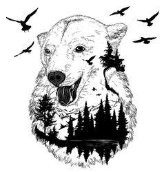 Hand drawn bear portrait wildlife concept vector image vector image