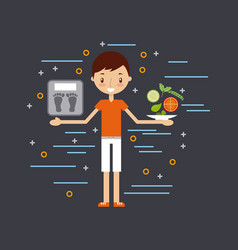 Healthy lifestyle related icons image vector