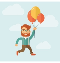 Hipster flying in blue sky vector