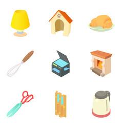 Home technical icons set cartoon style vector