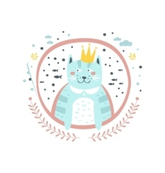 King cat fairy tale character girly sticker in vector