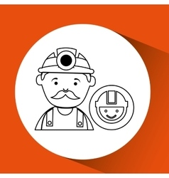 Mine worker pickaxe with face icon vector