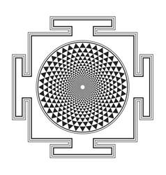 Monocrome outline sahasrara yantra vector