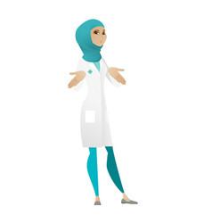 Muslim confused doctor shrugging shoulders vector