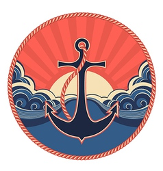 NAutical label with anchor and sea waves vector image vector image