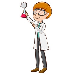 Scientist holding flask with chemical vector image vector image
