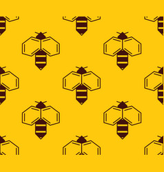 seamless pattern of bee logo on honey background vector image
