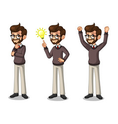 set of hipster businessman getting ideas gesture vector image