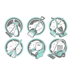 set of tools for cleaning on a white background vector image
