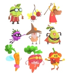 Silly fantasy fruit and vegetable characters set vector
