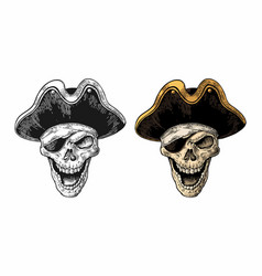 Skull in pirate clothes eye patch and hat smiling vector