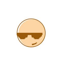 smiling cartoon face wear sunglasses positive vector image
