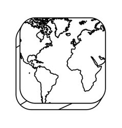 square silhouette button with contour map vector image vector image