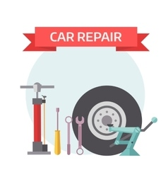 Tire service mechanic elements design concept flat vector