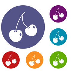 two cherry berries icons set vector image vector image