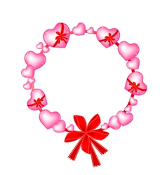 Valentine Wreath of Pink Hearts and Bows vector image