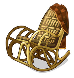 Vintage comfortable rocking chair with blanket vector