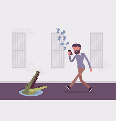 young carefree man walking with phone crocodile vector image vector image