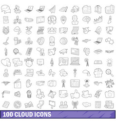 100 cloud icons set outline style vector