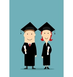 Graduates in black graduation mantle and cap vector