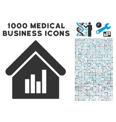 Realty bar chart icon with 1000 medical business vector