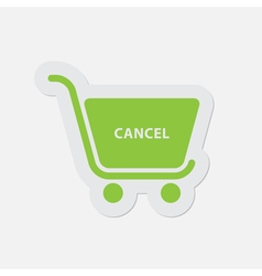 Simple green icon - shopping cart cancel vector