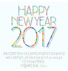 Mosaic Happy New Year 2017 greeting card vector image