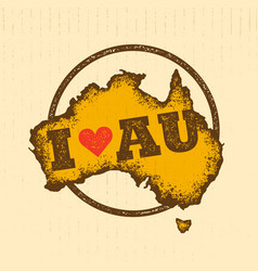 Australia vintage map damaged classic yellow with vector
