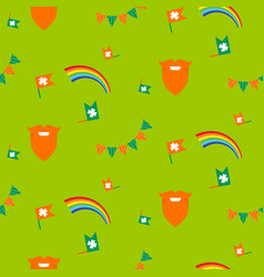 red beard rainbow and bunting seamless pattern vector image