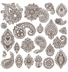 Big set of henna floral elements vector