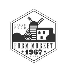 Farm market estd 1967 logo black and white retro vector