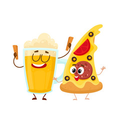 Funny beer mug and yummy pizza slice characters vector