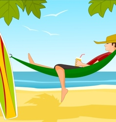 Young surfer on a beach vector