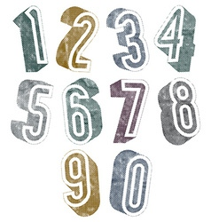 3d numbers with halftone dots textures vector
