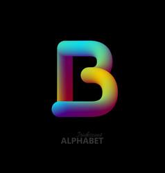 3d iridescent gradient letter b vector