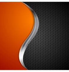 Metal wave and black perforated texture background vector
