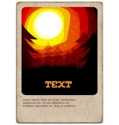 Golden Sunset card - vector image