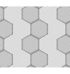 Abstract striped hexagons geometric seamless vector